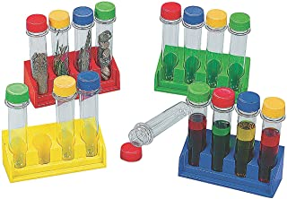 Science Test Tubes with Trays (Includes 16 Plastic Test Tubes with caps and 4 Trays) Classroom Supplies