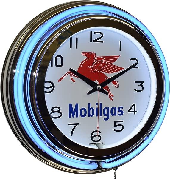 Mobilgas Blue Double Neon Advertising Clock Man Cave Garage Decor
