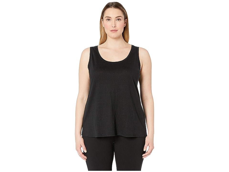 Eileen Fisher Plus Size Organic Linen Jersey U-Neck Long Tank Top (Black) Women