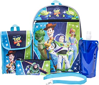 Toy Story Backpack Combo Set - Disney Pixar Toy Story Boys' 6 Piece Backpack Set - Woody & Buzz Lightyear Backpack & Lunch Kit (Blue)