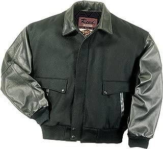 Men's Leather Top Gun Varsity Bomber Jacket Made in USA