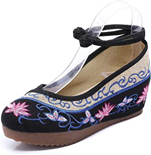 YIBLBOX Women Chinese Traditional Strap Lotus Flower Embroidery Strappy Platform Wedges Shoes