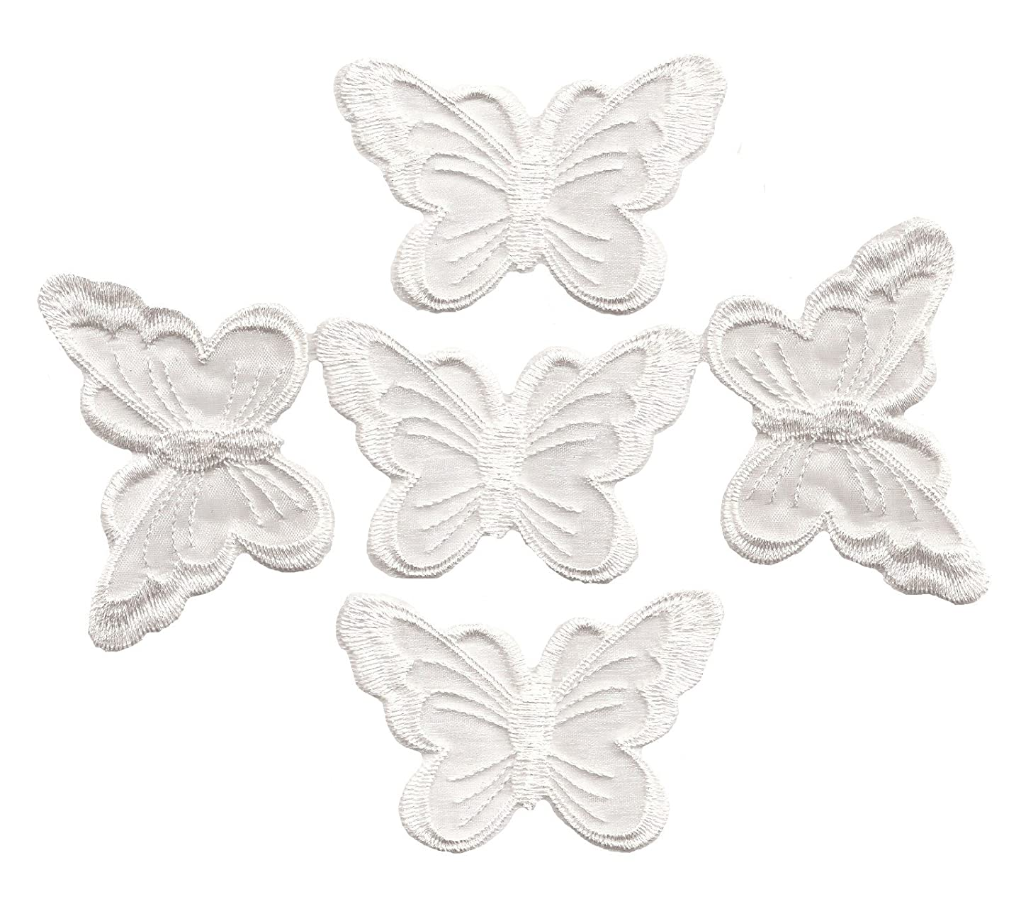 A-51, 5 White Organza Butterfly Patches Dress patch7.5x5.0cm Butterfly Bug Embroidered Iron On Applique Patch 2.95 x 1.96 inches(7.5cm x 5.0cm)
