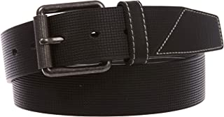 """1 1/2""""(38mm) Men's Embossed Stitch-Hole Leather Casual Jean Belt"""