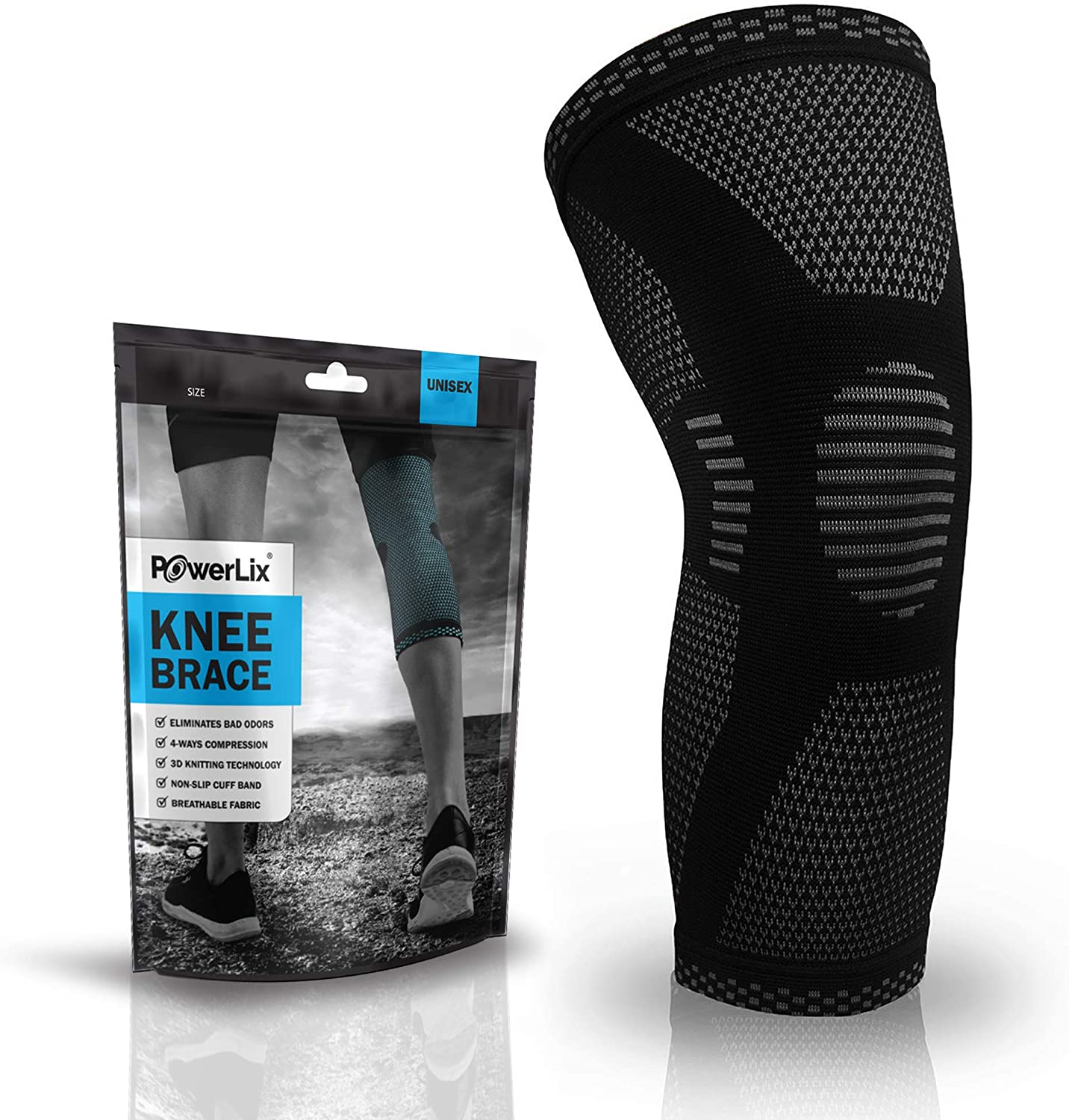 Amazon Com Powerlix Knee Compression Sleeve Best Knee Brace For Knee Pain For Men Women Knee Support For Running Basketball Volleyball Weightlifting Gym Workout Sports Please Check Sizing Chart