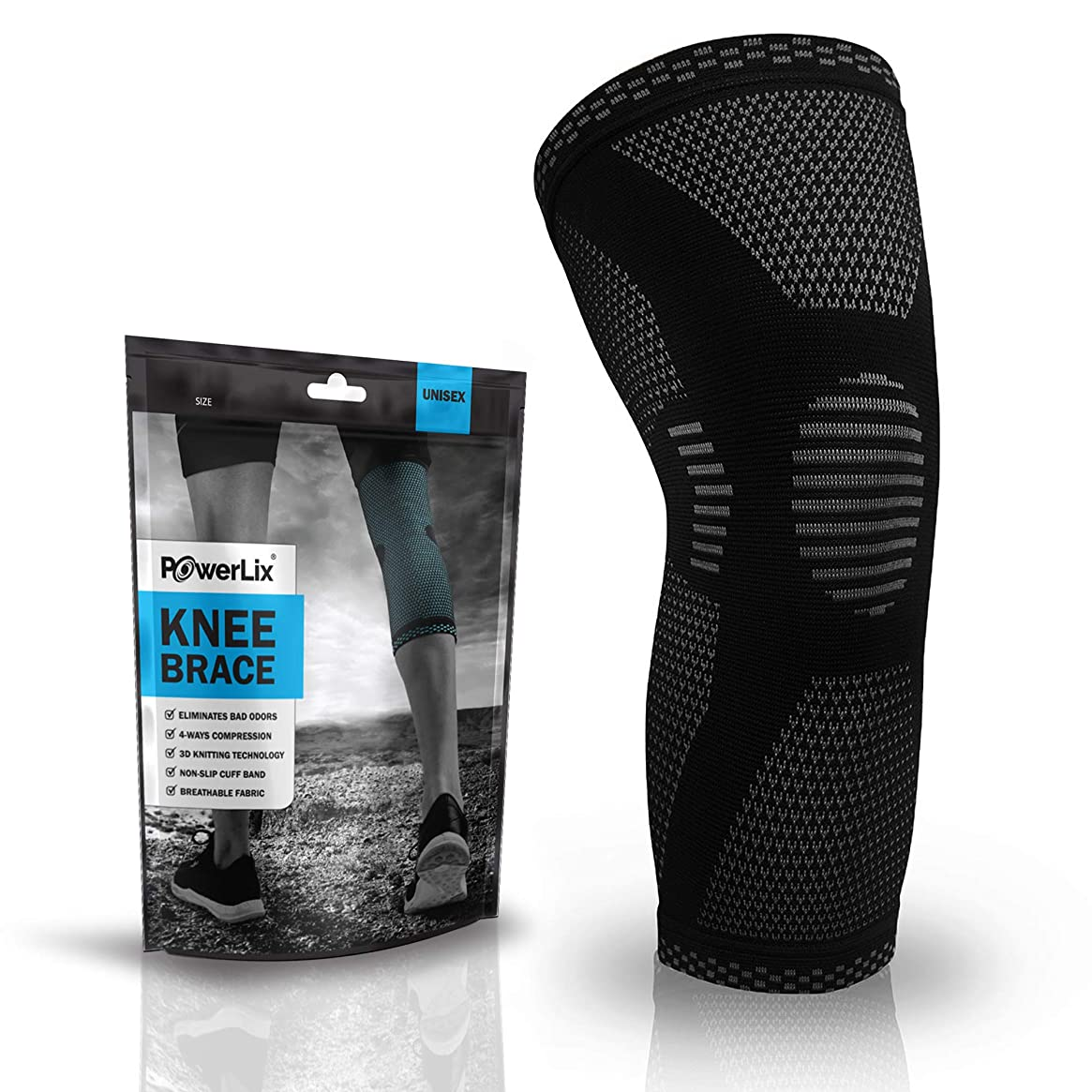 POWERLIX Compression Knee Sleeve - Best Knee Brace for Men & Women – Knee Support for Running, Crossfit, Basketball, Weightlifting, Gym, Workout, Sports etc. – for BEST FIT CHECK SIZING CHART (Single)