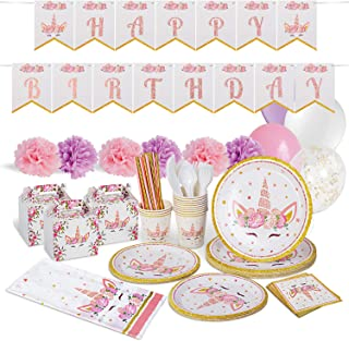 Unicorn Party Supplies Decorations - Enjoy This Magical 149 Pieces Unicorn Birthday Decor Kit For Girls Including Cute Goody Boxes - This Fashionable Unicorn Party Decoration Supply Set Will Leave Long Lasting Memories - Unicorn Themes 🦄 Serves 12