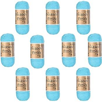 Melissa Perlés 8 - Hilo de Algodón para Ganchillo Hilado 100% Algodón para DIY y Tejer a Mano, Azul 11, (75 g * 10 unidades): Amazon.es: Hogar