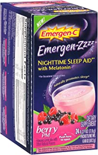 Alacer Emergen-C Nighttime Berry PM Sleep Aid, 24 Count, Pack of 2