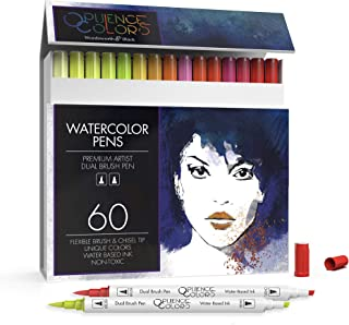 Wordsworth and Black 60 Pack Dual Tips - Brush and Chisel - Paint Markers, Flexible Brush Tips, Professional Watercolor Pe...