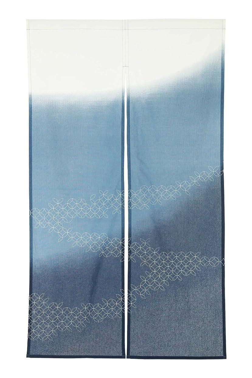 ほぼ私百年narumikk のれん 2段ぼかし 霞 藍 サイズ:85×150cm 09-011