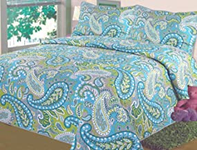 3-Piece Fine printed Quilt Set KING SIZE Bedspread Coverlet Bed Cover (Turquoise Blue Green Paisley)