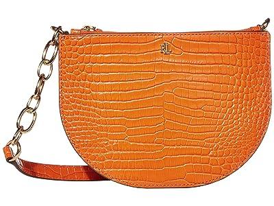 LAUREN Ralph Lauren Halfmoon Mini Croc Embossed Sutton 22 Crossbody Medium (Sailing Orange) Handbags