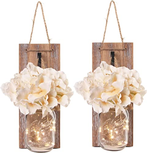Besuerte Mason Jar Wall Sconces with LED Fairy Lights Automatic On and Off Timer Modern Wall Hanging Home Decor Farmh...