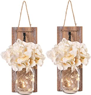 Besuerte Mason Jar Wall Sconces with LED Fairy Lights Automatic On and Off Timer Modern..