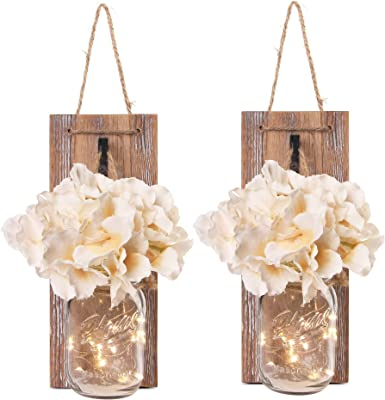 Amazon Com Besuerte Mason Jar Wall Sconces With Led Fairy Lights Automatic On And Off Timer Modern Wall Hanging Home Decor Farmhouse Decor Decorative Vintage Lighting Everything Else