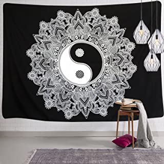 Sunm Boutique Black and White Tapestry Yinyang Wall Hanging Tapestry Mandala Tapestry Indian Traditional Art Bohemian Tapestry Wall Hanging