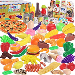 MGparty 160PCS Pretend Play Food Set Play Kitchen Set for Kids Toddlers Toys , Kitchen Accessories, Party Favor Christmas ...