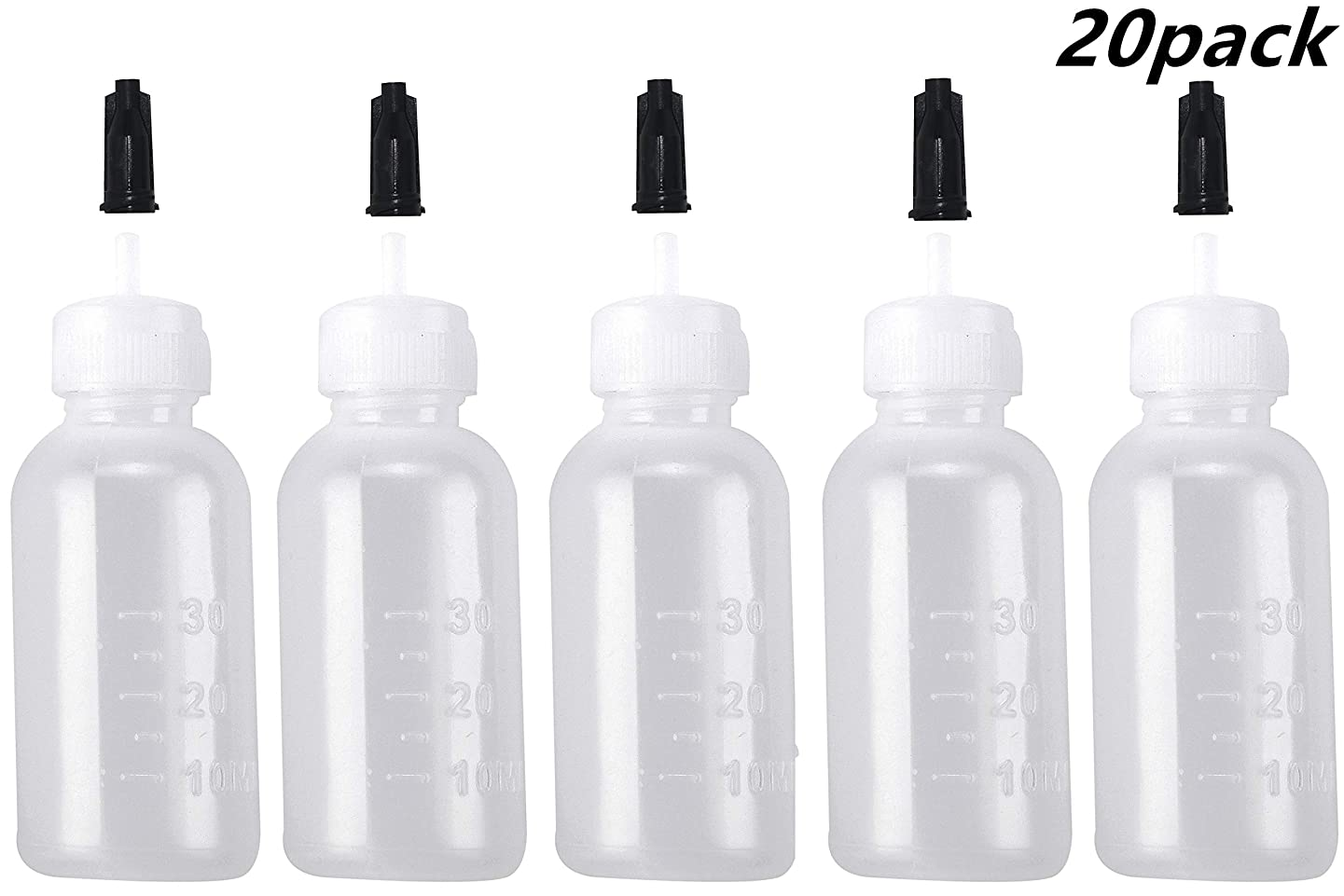 20 Pack Multi-Purpose Applications Bottle with Tip Cap - 30ML Plastic Squeeze Bottles for Crafts, Art, Glue and Oil
