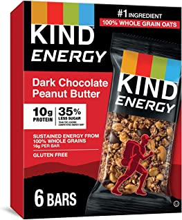 KIND Energy Bar, Dark Chocolate Peanut Butter, Gluten Free, Low Sugar, 1.76 Ounces, 30 Count