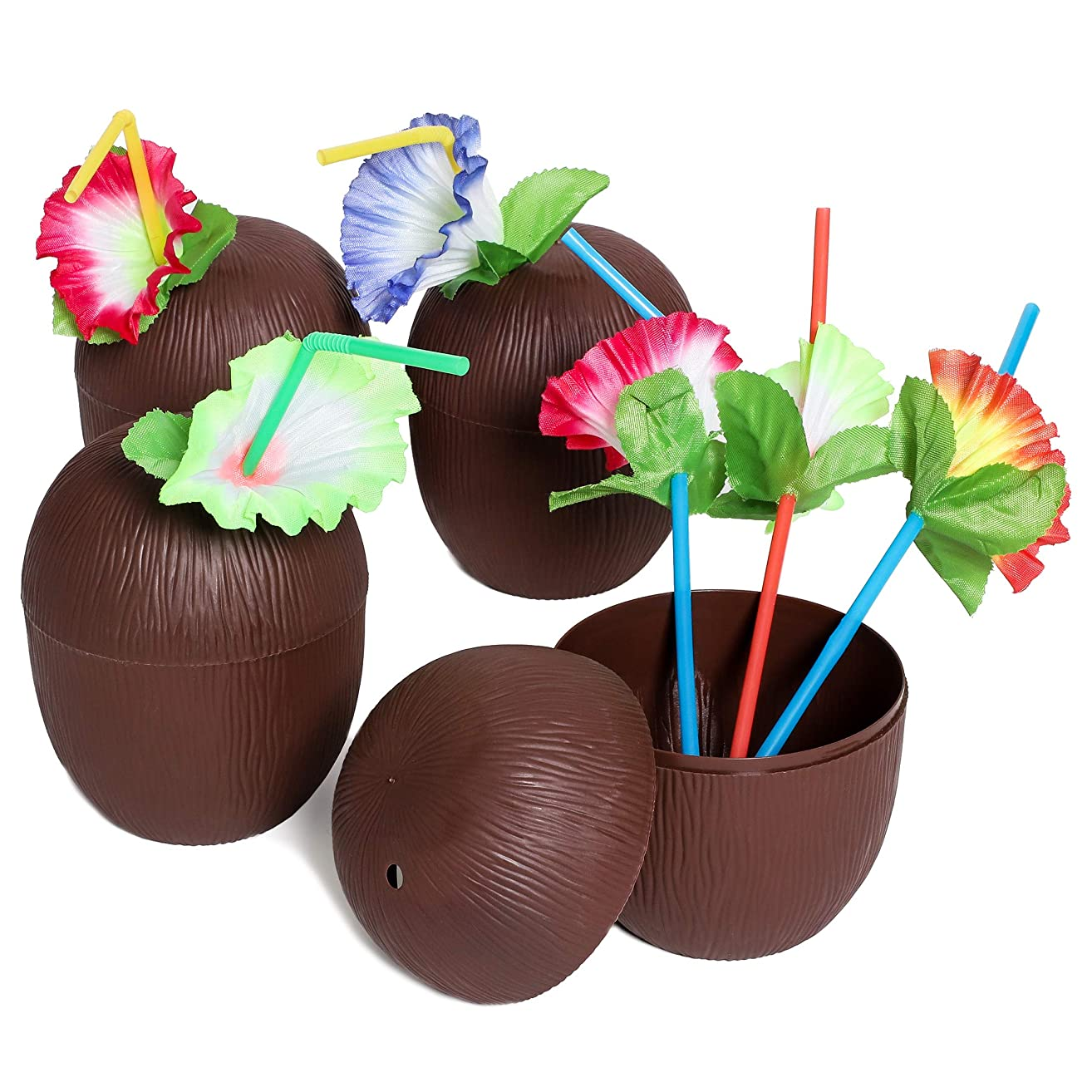 Juvale 12-Pack 16 Ounce Plastic Coconut Cups with Straws, Hawaiian Tropical Luau Party Supplies