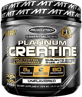 MuscleTech Platinum Creatine Monohydrate Powder, 100% Pure Micronized Creatine Powder, 14.1oz (80 Servings)