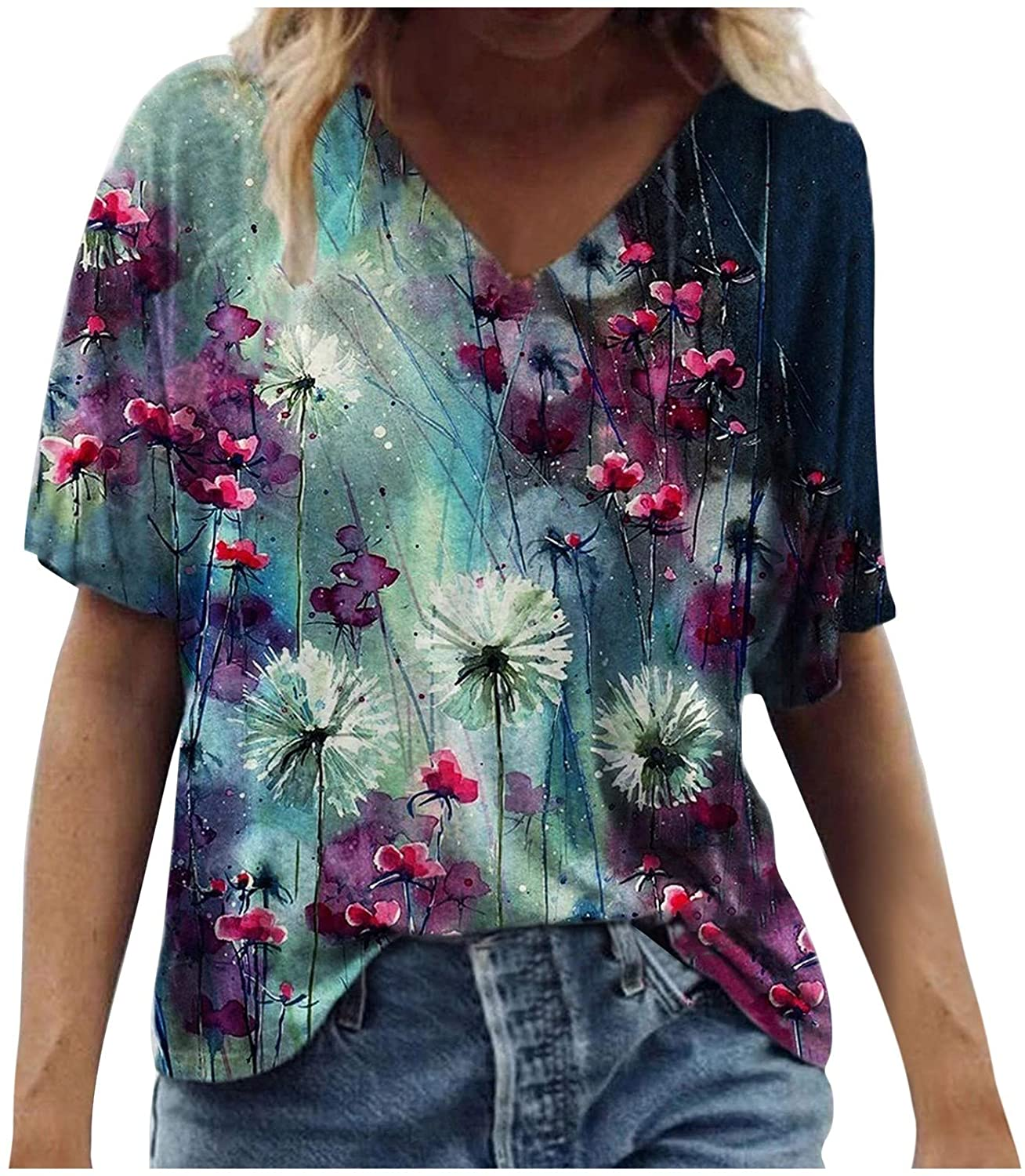 Womens Summer Tops, Plus Size Casual Top for Women Loose Fit Trendy Tees Shirts Fashion Casual Tunic