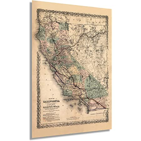 1776 MAP OF CALIFORNIA /& WESTERN PARTS OF US POSTER vintage very rare 24x36