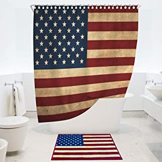 RORA American Flag Curtain Sets with Non-Slip Bath Rugs 4th July Independence Day Patriot USA Flag On Rustic Wooden Planks...