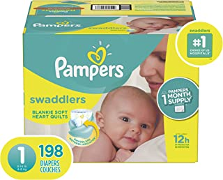 Diapers Pampers Swaddlers Size 1 (8-14 lb), 198 Count - Disposable Baby Diapers Size 1 / Newborn, 198 Count, ONE MONTH SUPPLY