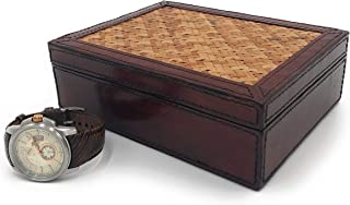 Leather Box with Hinged lid | Brown | Cane Inset Top | Decorative Leather Box with Lid | Magnetic Closure | A Gift | for W...
