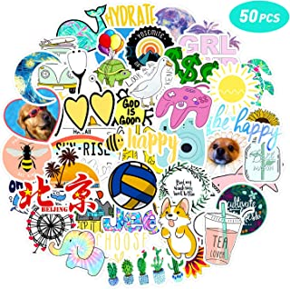 50 Pcs VSCO Vinyl Cute Cool Waterproof Stickers for Hydro Flask, Water Bottle and Laptop - Suitable for Kids, Girls, Teens, Women (C1)