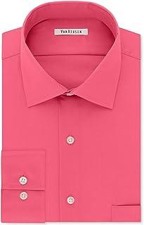 Van Heusen Mens Classic Regular Fit Woven Dress Shirt Pink
