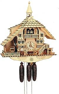 Alemán Reloj de cuco - estilo Chalet - mecanismo con cuerda para 8 días - 58 cm - Auténtico reloj de cuco del bosque negro - de Anton Schneider