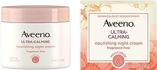 Aveeno Ultra-Calming Nourishing Night Cream for Sensitive Skin with Calming Feverfew & Nourishing Oat, Non-Comedogenic, Oi...