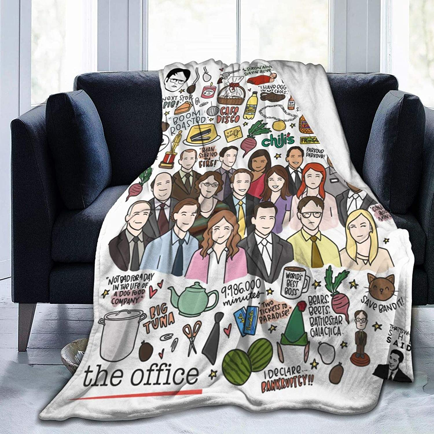 The Office Blanket Ultra Soft Flannel Throw Blanket Anti-Pilling Warm Blankets Couch Bed Office Travel Picnic Weighted Blanket for Kids Adults 50