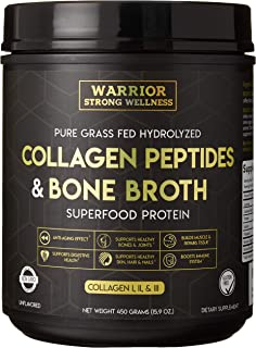Premium Collagen Peptides Bone Broth by Warrior Strong Wellness: Grass Fed Hydrolyzed Collagen Protein Powder Boost for He...