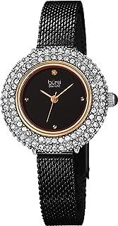 Swarovski Crystal Diamond Accented Watch - Sparkling Swarovski Crystals on Stainless Steel Slim Mesh Bracelet - Mothers Day Gift - BUR236