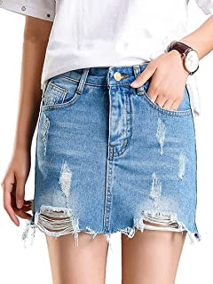 Ruphie Women's High Waist Distressed Ripped Denim Skirts Short Jean Mini Skirts