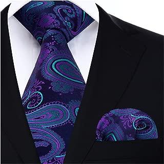 Extra Long Floral Paislry Tie Handkerchief Men's Necktie & Pocket Square Set
