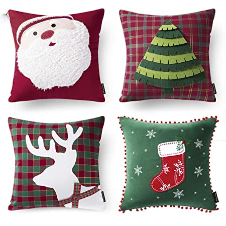 Phantoscope Christmas Pillow Covers Cotton Embroidered Santa Tree Car And Reindeer Red And Green Buffalo Plaid Checkers Xmas Decorative Throw Pillows Pack Of 4 18 X 18 Inches 45 X 45