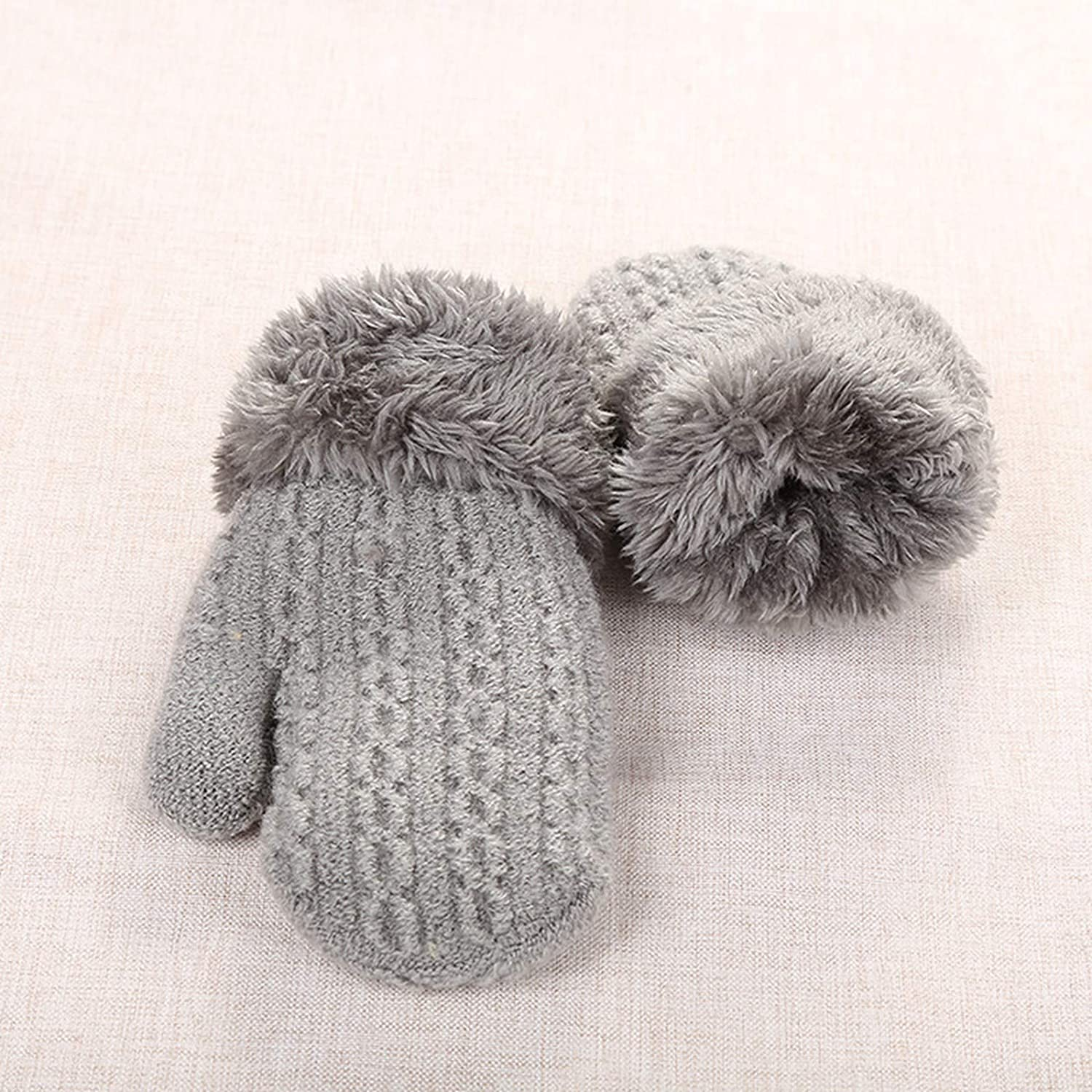 1-4 Years Kids Mittens, Solid Color Knitted Lanyard 2-layer Girls Cold Weather Gloves for