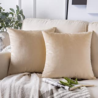 Phantoscope Pack of 2 Velvet Decorative Throw Pillow Covers Soft Solid Square Cushion Case for Couch Beige 26 x 26 inches ...
