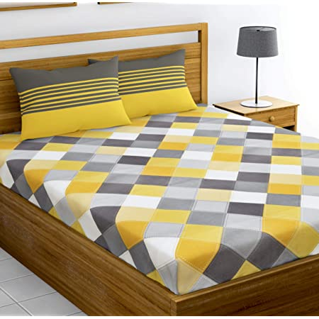 Loreto 144 TC 100% Cotton Double Bedsheet with 2 Pillow Covers - Multi Colour