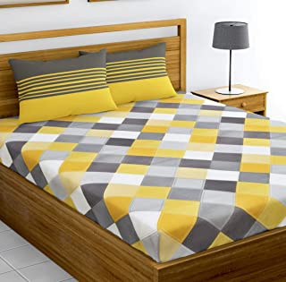 Loreto – A Quality Linen Brand 144 TC 100% Cotton Double Bedsheet with 2 Pillow Covers - Multi Colour