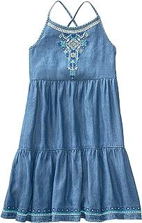 Gymboree Girls' Little Cross Back Tiered Chambray Dress