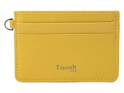 Lipault Paris Plume Elegance Leather Card Holder (Mustard) Credit card Wallet