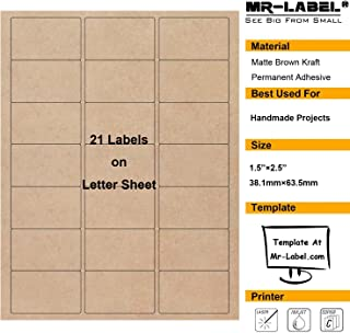 """Mr-Label 1-1/2""""×2-1/2"""" Printable Natural Kraft Brown Label Sticker - for Mason Jars   Crafts   Candles   Candy   Party Favor   Gift Label - for Inkjet/Laser Printer (10 sheets/210 Labels)"""