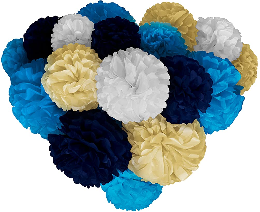 Voplop Paper Pom Poms - 20 pcs of 8, 10, 14 Inch - Paper Flowers - Perfect For Wedding Decor - Birthday Celebration - Table and Wall Decoration (Blue mix)