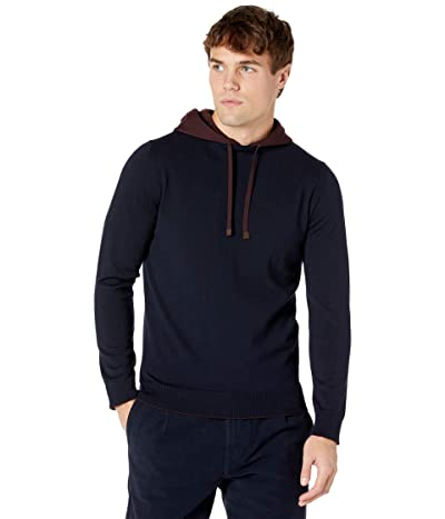 eleventy Contrast Color Pullover Hoodie (Navy/Burgundy) Men